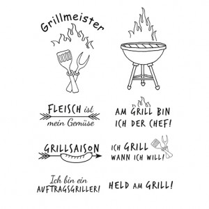 Stempel Clear, Grillmeister, A7 / 74 x 105 mm, 8 - teilig, transparent